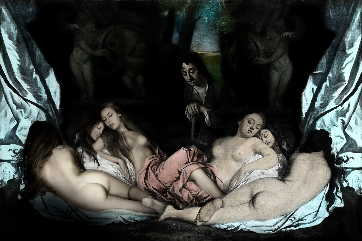 photography mixed with old masters painting reclining nudes