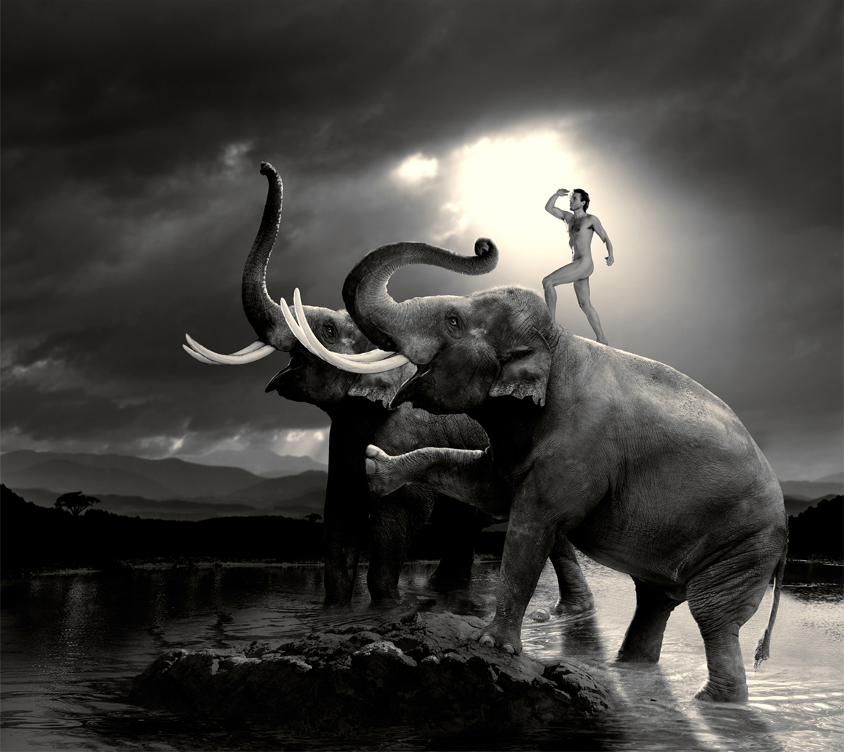 nude man standing on an elephant