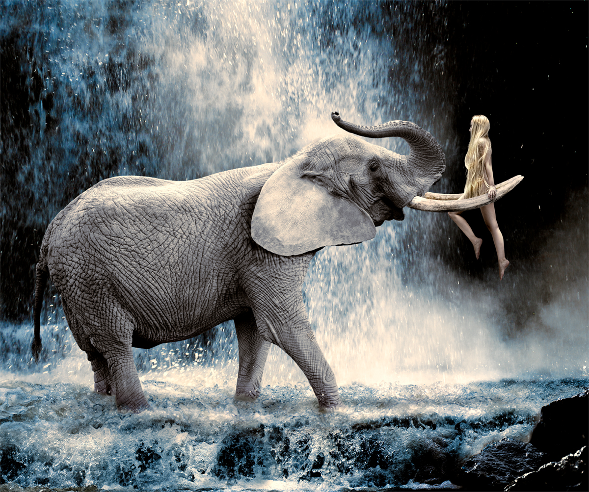 model hanging on tusks elephant at a waterfall