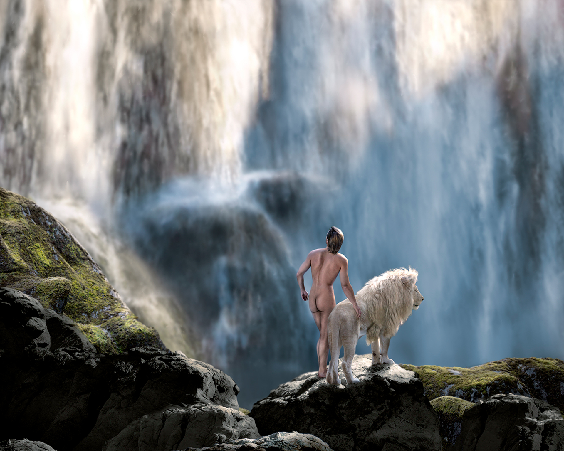 nude man with lion at a waterfall